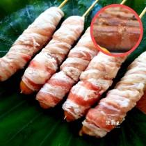 【陸霸王】德式香腸培根串_德式香腸捲五花肉 串燒 烤肉 推薦